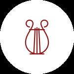 Icona del logo della filarmonica bianca